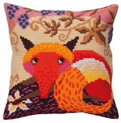 Cushion cross stitch kit Fox and grape - Collection d'Art