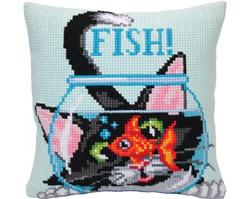 Cushion cross stitch kit Catch a Fish - Collection d'Art