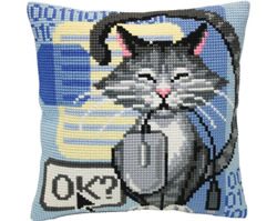 Cushion cross stitch kit Cat and Mouse - Collection d'Art