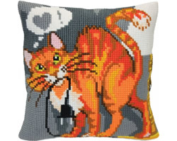 Cushion cross stitch kit Sly Cat - Collection d'Art