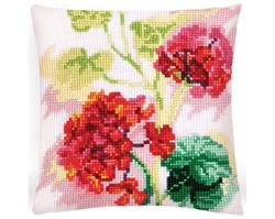 Cushion cross stitch kit Red Geranium  - Collection d'Art
