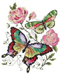 Borduurpakket Butterflies and roses - Chudo Igla (Magic Needle)