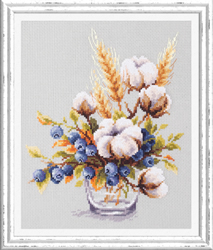 Cross stitch kit Blooming Cotton and Blueberry - Chudo Igla