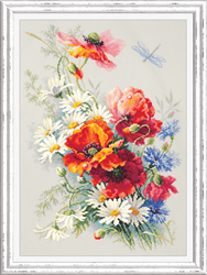 Borduurpakket Poppies and daisies - Chudo Igla (Magic Needle)