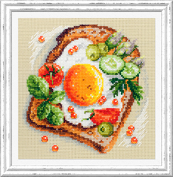Borduurpakket Fried Eggs Toast - Chudo Igla