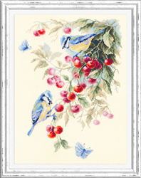 Cross stitch kit Blue Tits and Cherry - Chudo Igla