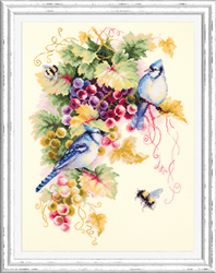 Cross stitch kit Blue Jay and Grapes - Chudo Igla