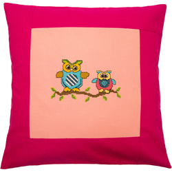 Pillow 40 x 40cm Rose-Pink Counted X-Stitch - Duftin