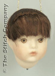 Handmade Porcelain Angel Head large, dark hair - Emie Bishop