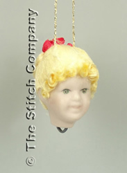Handmade Porcelain Angel Head small, blond hair - Emie Bishop