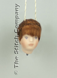 Handmade Porcelain Angel Head small, dark hair - Emie Bishop
