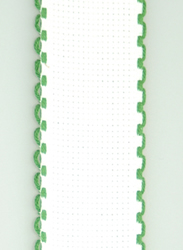 Aida band 3,5 cm White-Xmas Green Scalloped Edge - Fabric Flair