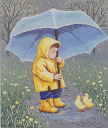 Borduurpakket Rainy Day Friends - Janlynn