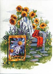 Cross Stitch Kit Summer Garden Flag - Janlynn