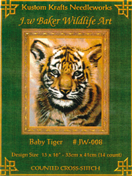 Cross Stitch Chart Baby Tiger - Kustom Krafts