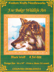 Cross Stitch Chart Black Wolf - Kustom Krafts