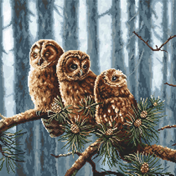 Borduurpakket Owls Family - Leti Stitch