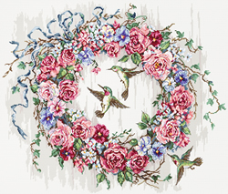 Borduurpakket Hummingbird Wreath - Leti Stitch