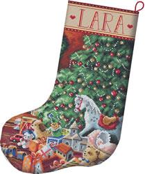 Cross stitch kit Cozy Christmas Stocking - Leti Stitch