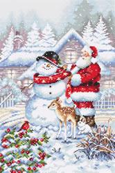 Cross stitch kit Snowman and Santa - Leti Stitch