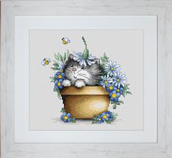 Cross Stitch Kit Kitten in Flowers - Luca-S