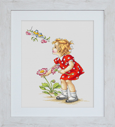 Cross Stitch Kit Girl in Red Dress - Luca-S