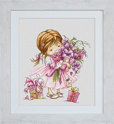 Borduurpakket Girl with a Bouquet - Luca-S