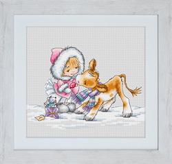Cross Stitch Kit Girl with a Calf - Luca-S