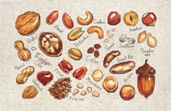 Cross stitch kit Nuts & Seeds - Luca-S