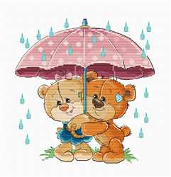 Cross stitch kit Teddy Bears Under Umbrella - Luca-S