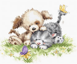 Cross stitch kit Dog and Cat with Butterfly - Luca-S