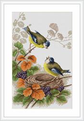 Borduurpakket Birds in nest - Luca-S