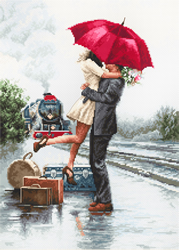 Cross stitch kit Couple on Train Station - Luca-S