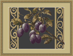 Cross Stitch Kit Branch with prunes - Luca-S