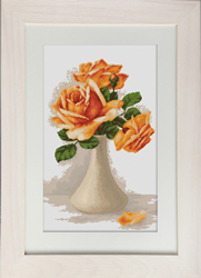 Borduurpakket Orange Roses in Vase - Luca-S