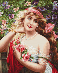 Cross Stitch Kit Young Lady with Roses - Luca-S