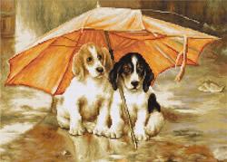 Cross Stitch Kit Couple under an Umbrella - Luca-S