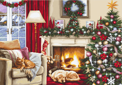 Cross stitch kit Christmas interior - Luca-S