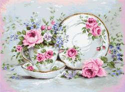 Cross stitch kit Trio & Blooms - Borduurpakket