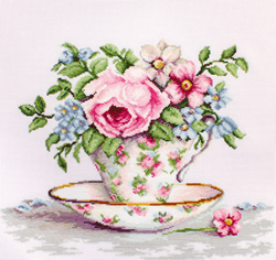Cross stitch kit Blooms in a Tea Cup - Luca-S