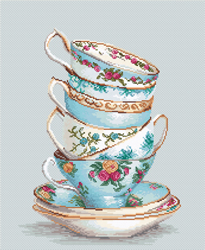 Cross stitch kit Turquoise Themed Tea Cups - Luca-S