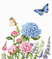 Cross stitch kit Summer Flowers and Butterflies - Luca-S