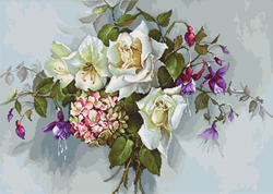 Cross stitch kit Bouquet with Roses - Luca-S