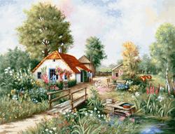 Cross stitch kit Village landscape - Luca-S