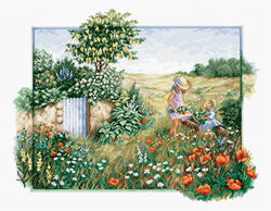 Cross stitch kit Landscape with poppies - Luca-S