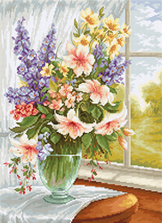 Cross stitch kit Flowers at the Window - Luca-S