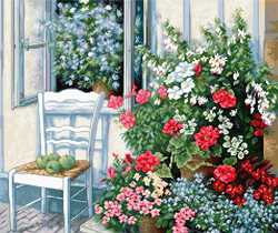 Cross stitch kit Terrace with Flowers - Luca-S