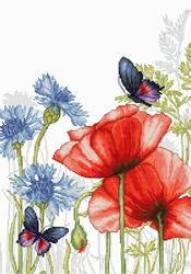 Borduurpakket Poppies and Butterflies - Luca-S