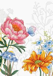 Borduurpakket Flowers and Butterfly - Luca-S