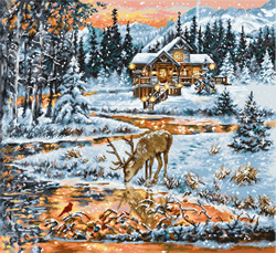 Cross stitch kit Snowy Cabin - Luca-S